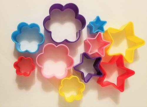 Flower & Star Cookie Cutters ~ Set of 10~5 Flower Shape Cutters & 5 Star Shaped Cutters (Cookie Cutter Colors vary)