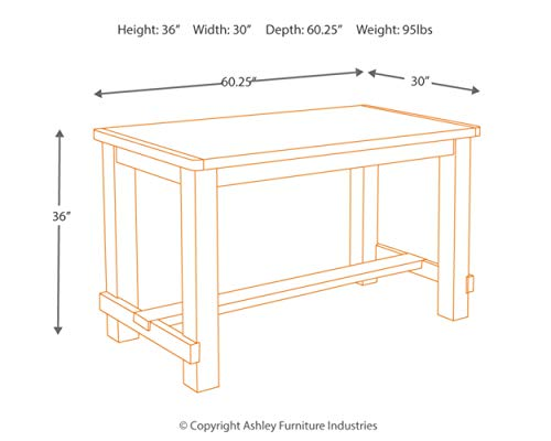 Ashley Furniture Signature Design - Pinnadel Counter Dining Table - Weathered Brown Finish w/ Gray Undertones by Signature Design by Ashley (Image #6)