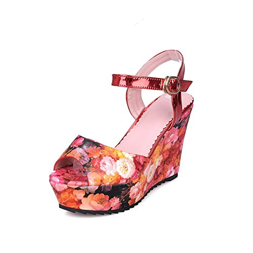 Women's Assorted Buckle Heels AllhqFashion PU Toe Open Color High Red Sandals 0wSnnqdR