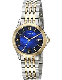 Women's Quartz Stainless Steel Dress Watch, Color:Two Tone (Model: 98M124)