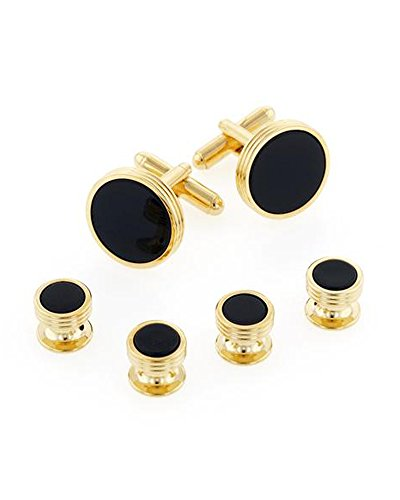 EZ Tuxedo Genuine Onyx Concentric Circles Cufflinks and Studs Set in Gold ()