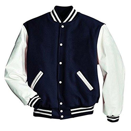 Original Windhound College Jacke navy blau mit weißen Echtleder Ärmel L