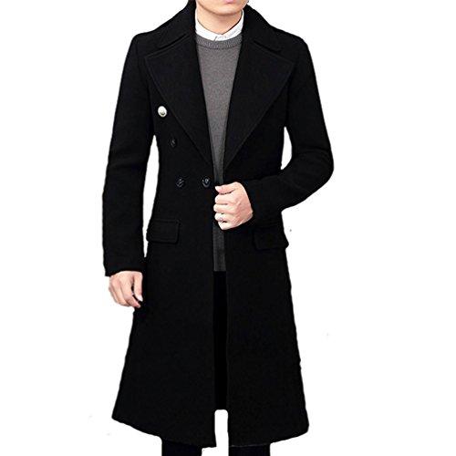 Klorim Men's Tailored Collar Luxury Long Wool Coat Full Length Topcoat (40, (Lining Full Length Top Coat)