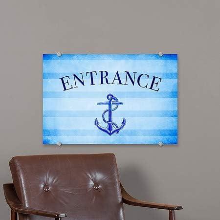 36x24 CGSignLab Nautical Stripes Premium Brushed Aluminum Sign Entrance