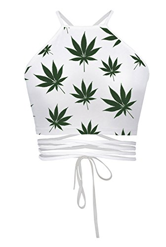 (Women's Teens Girls Juniors Halter Sexy Vest Crop Top Shirt(White)