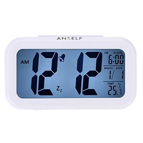 Anself LED Digital Wecker Watch Wiederholung Snooze Licht aktivierten Sensor-Hintergrundbeleuchtung Zeit Datum Temperaturanzeige (Weiß)
