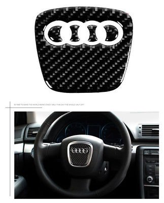 (Boobo AD-80CB Carbon Steering Wheel Insert Emblem Badge Cover Logo Sticker for Audi (80mmx78mm))