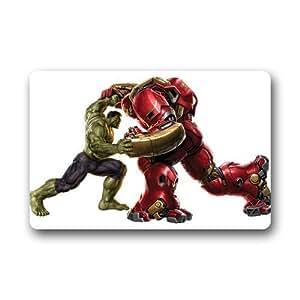 """Hulk vs Iron man personalizado antideslizante lavable a máquina decoración cuarto de baño Interior/Al aire libre Felpudo (23.6x15.7"""")"""