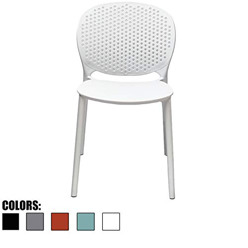 2xhome White Contemporary Modern Stackable Assembled Plastic Chair Molded With Back Armless Side Matte for Dining Room Living Designer Outdoor LightWeight Garden Patio Balcony Work Office Desk Kitchen