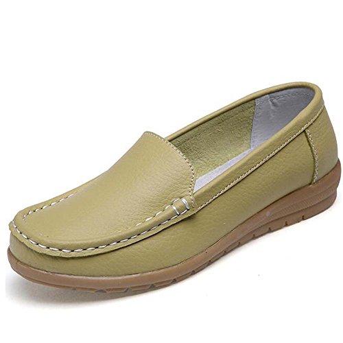 Women Moccasins Green Slip Pumps Leather Hattie on Loafers Toe Round RxFxnOqH