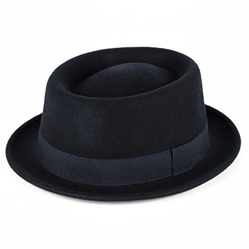 Men's Ladies Wool Pork Pie Hat Plain Waterproof & Crushable - Navy Blue (59/L)
