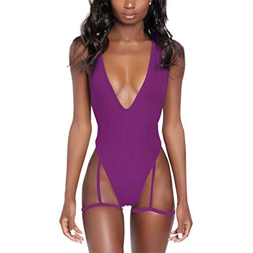 (NE Norboe Deep V Neck Sexy Garter Belt Bikinis for Women 2019 Spaghetti Straps Cross On Back One Piece Swimsuits (Dark Purple, m))