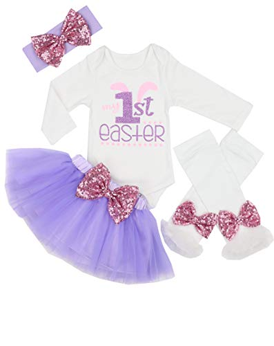 My 1st Easter Outfit Baby Girl Bunny Letters Romper Tutu Dress with Headband Bodysuit Set 3-6 Months Purple