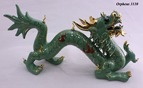 (Feng Shui Dragon - (First Symbol of Success) Hand Crafted and Decorated Fine Chinese Porcelain, Figurine 11042 (Green))
