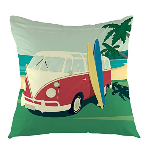 oFloral Pillow Cover Red Bus with Two Surfboards Palm Tree On The Tropical Beach Ocean Retro Throw Pillow Case Square Cushion Cover for Sofa Couch Car Bed 18