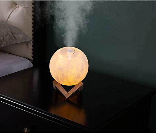 YunNasi Moon Humidifier Moon Lamp Small Diffuser Cool Mist Humidifier for Living Room Bedroom Office Adjustable Brightness and Mist Mode Home Decor Night Light 880ml