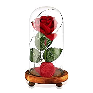 Beauty and The Beast Rose, Enchanted Red Silk Rose and LED Light with Fallen Petals in Glass Dome on a Wooden Base, Gift for Her - Holiday Birthday Party Wedding 105