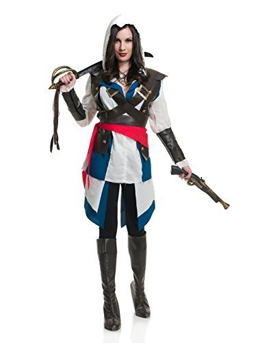 Charades Women's Cutthroat Pirate Girl Costume, As Shown, (Great Couple Halloween Costume Ideas 2017)