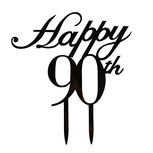 Happy 90th Cake Topper, 90th Birthday/Wedding Anniversary Party Decorations-Black Color