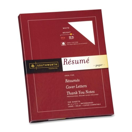 Wholesale CASE of 15 - Southworth 100% Cotton Linen Resume Paper-Resume Paper, Wove 32 lb, 8-1/2''x11'', 100/BX, White by sou