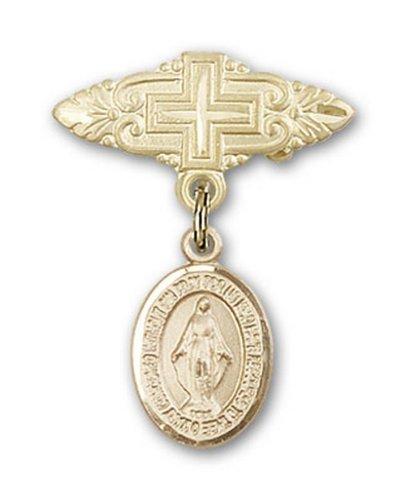 Icecarats Or Bijoux De Créateurs Rempli Broche De Badge Charme Miraculeuse Avec Une Croix X 3/4