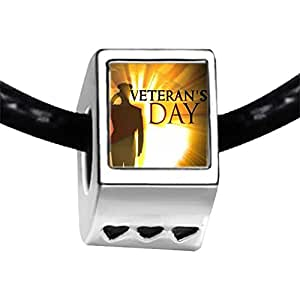 Chicforest Silver Plated Veterans Day American soldier Photo Three Heart Charm Beads Fits Pandora Charms