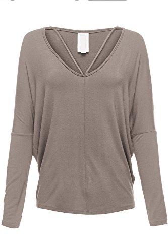 Deep V-neck Bralette Drape Batwing Sleeve Tunic Shirt Tops
