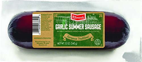 Klement's Summer Sausage, Garlic, 12 Ounce - Garlic Summer Sausage
