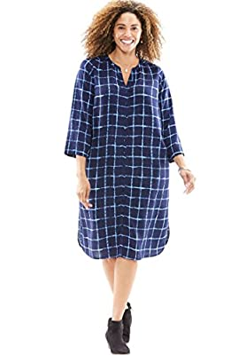 Women's Plus Size Button-Up Shirt Dress