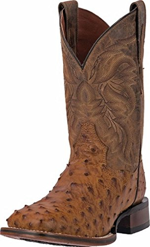 Dan Post Men's Alamosa Full Quill Ostrich Western Boot Square Toe Saddle Tan 8.5 D(M) US (Beige Mens Cowboy Boot)