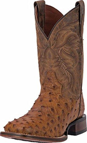 Dan Post Men's Alamosa Full Quill Ostrich Western Boot Square Toe Saddle Tan 13 D(M) -