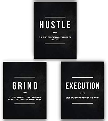 3 Pieces Grind Verb Hustle Verb Execution Noun Motivational Wall Art Canvas Print