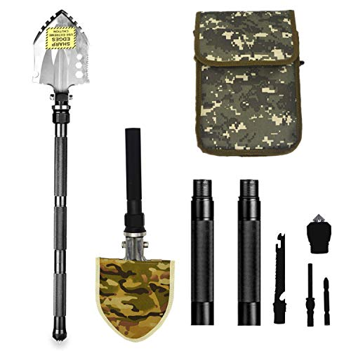 (BAALAND Folding Camping Shovel Tactical Survival Tools with Carrying Bag for Hiking Backpacking Fishing Car)