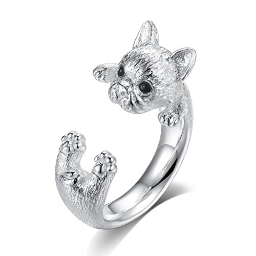 VIKI LYNN Gifts for Dog Lovers - 925 Sterling Silver Dog Ring Adjustable Open Wrap Ring for Women (Silver Bulldog Sterling Ring)