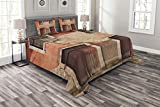 Lunarable Rustic Bedspread Set Queen Size, Abandoned Facade with Wood Windows and Doors in Portugal with Damaged Rusty Look, Decorative Quilted 3 Piece Coverlet Set with 2 Pillow Shams, Coral Cream