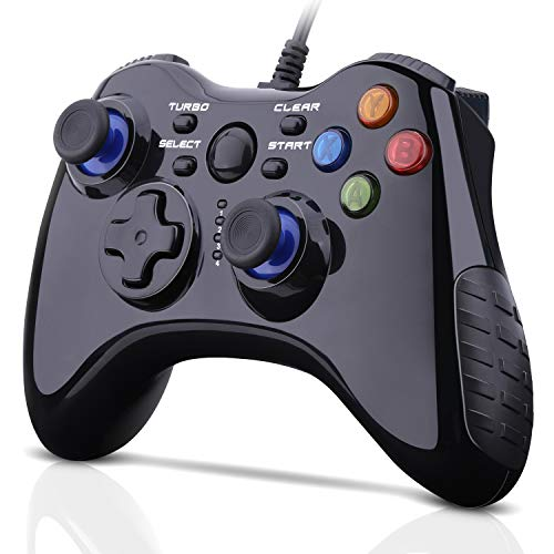 Wired Gaming Controller, OUTWIT Wired USB Game Controller Joystick for PC Plug and Play Gamepad with Dual-Vibration Turbo and Trigger Buttons for Windows/Steam/Android/ PS3/ TV Box, Father's Day Gift