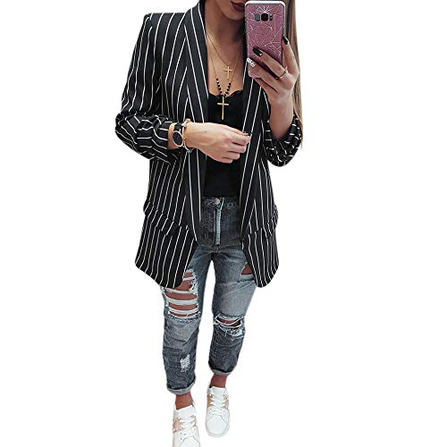 best website 17fd4 80a25 SODIAL Moda donna Risvolto a maniche lunghe Blazer a righe ...
