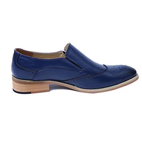 Xiafen Herenmode Formele Jurk Oxfords Instapper Comfortabele Casual Puntschoen Oxford Schoenen Blauw