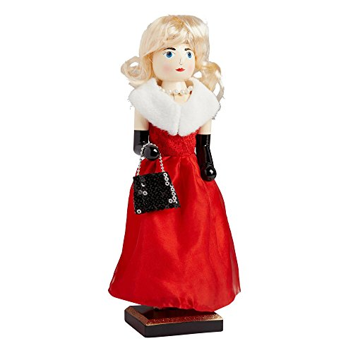 Northeast Home Goods Wooden Christmas Nutcracker Decor, 15-inch Red Gown Glam Girl by Northeast Home Goods