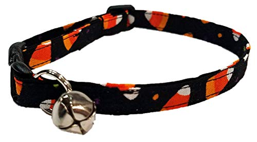Candy Corn Cat Collar - Halloween kitten - Orange yellow white black costume - trick or treat - all hallows eve - spooky scary - Cotton fabric adjustable - Handmade by Britches4Stitches