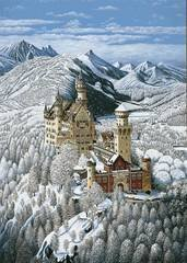 Bavarian Castle in Winter - 1000 Piece Puzzle, by Iwao Adachi by Association of Mouth and Foot Painting Artists