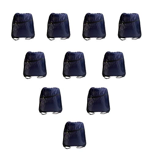 IMI 10PCS Drawstring backpack Cinch Bag for Gym Traveling Partys Promotional Sport (Navy - Nylon Blue Backpack Drawstring