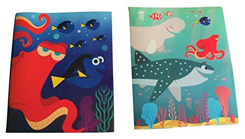 Plus Poly Portfolios (Disney Finding Dory Set of 2 Poly Folders ~ Just Keep Swimming (Hank and Dory; Bailey, Hank, Marlin and Destiny; Two Pocket Folders with Prongs))