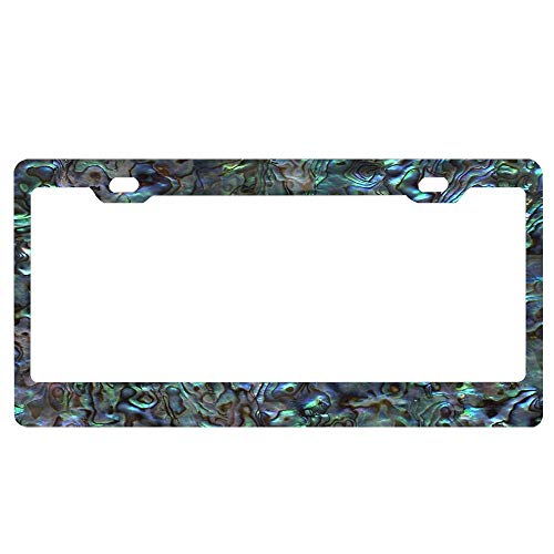 Butterfly Paua Shell - SDGlicenseplateframeIUY Abalone Shell │ Paua Shell │ Natural Personalized License Plate Frame Aluminum Decorative Car Plate Frame Outdoors Auto License Plate Frame