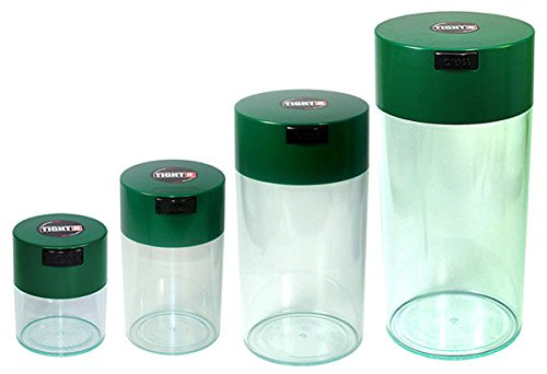 Tightvac Nested Set of 4 Vacuum Sealed Dry Goods Storage Containers, 4 Sizes: 24-Ounce, 12-Ounce, 6-Ounce, 3-Ounce, Clear Body/Forest Green Cap by Tightpac America, Inc.