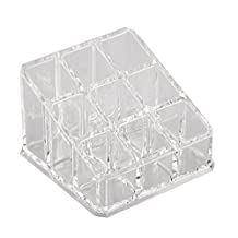 9 Lattices Acrylic Lipstick Holder Display Stand Cosmetic Organizer Makeup Case Clear