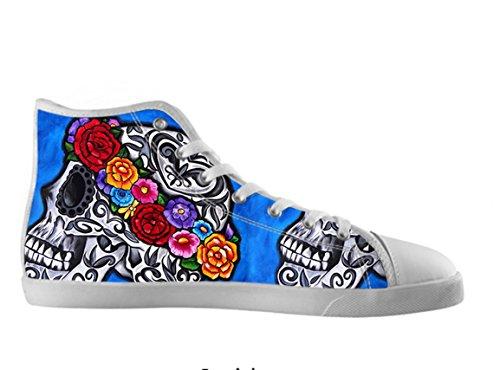 Vrouwen Canvas Hoge Schoenen Dag Van De Dode Ontwerp Suiker Schedel Shoes07