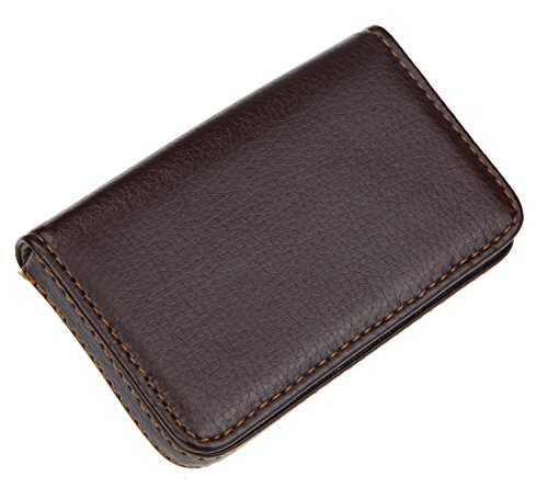 DEEZOMO PU Leather Business Name Card Case Universal Card Wallet Holder with Magnetic Shut – Coffee