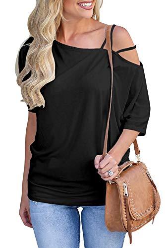 Green Ink Women's Tops Cold Shoulder Spaghetti Strap Short Sleeve T Shirts Off One Shoulder Blouses Black
