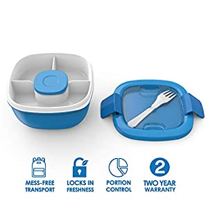 Bentgo Salad BPA-Free Lunch Container with Large 54-oz Salad Bowl, 3-Compartment Bento-Style Tray for Salad Toppings and Snacks, 3-oz Sauce Container for Dressings, and Built-In Reusable Fork (Blue)